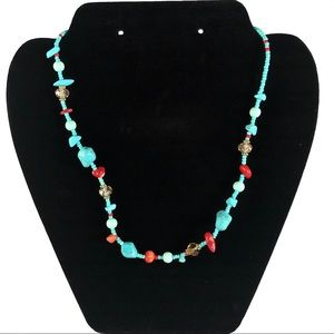 Turquoise and Red Coral Handmade Antique Necklace